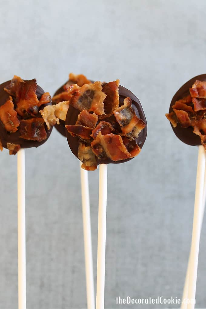 CHOCOLATE BACON POPS -- Chocolate and bacon on a stick, a fun and unususal party treat and a delicious sweet and salty combination.