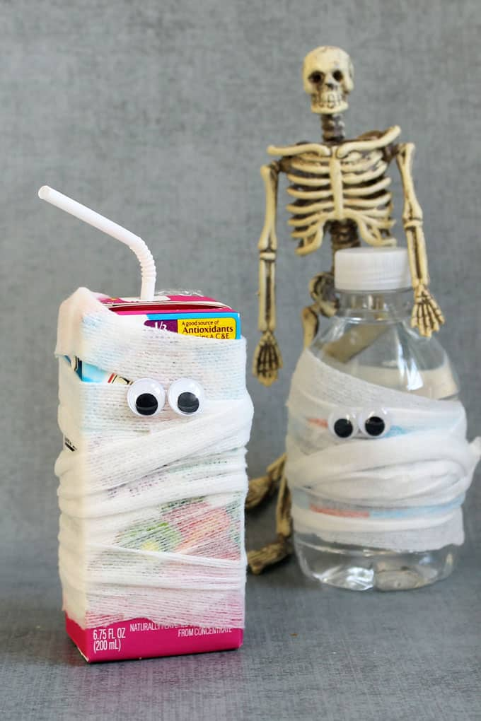 Healthy Halloween treats and snacks: Mummy wrapped drinks