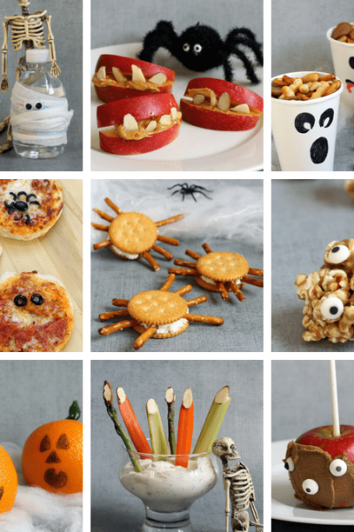 A roundup of healthy Halloween treats for kids. These Halloween snacks and treats have less sugar, but are still fun for Halloween or classroom parties. #healthyhalloween #healthyhalloweentreats #halloweensnacks