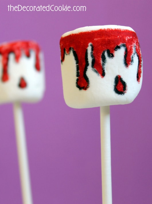 bloody Halloween marshmallow pops