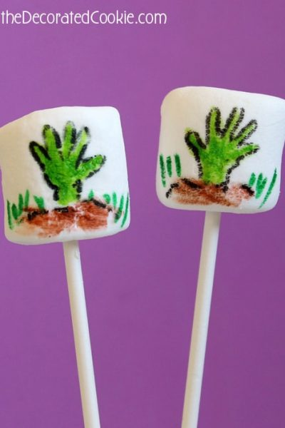 zombie marshmallows for Halloween