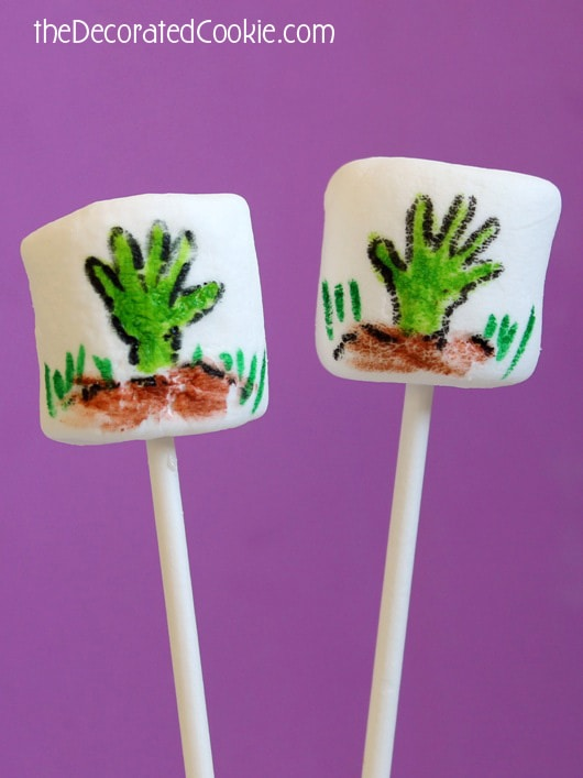 zombie hand marshmallows for Halloween