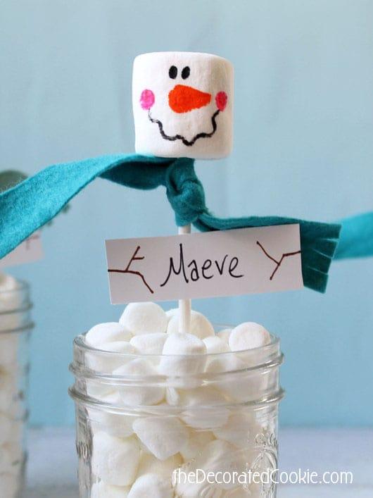 marshmallow snowman jar - marshmallow snowman placeholders
