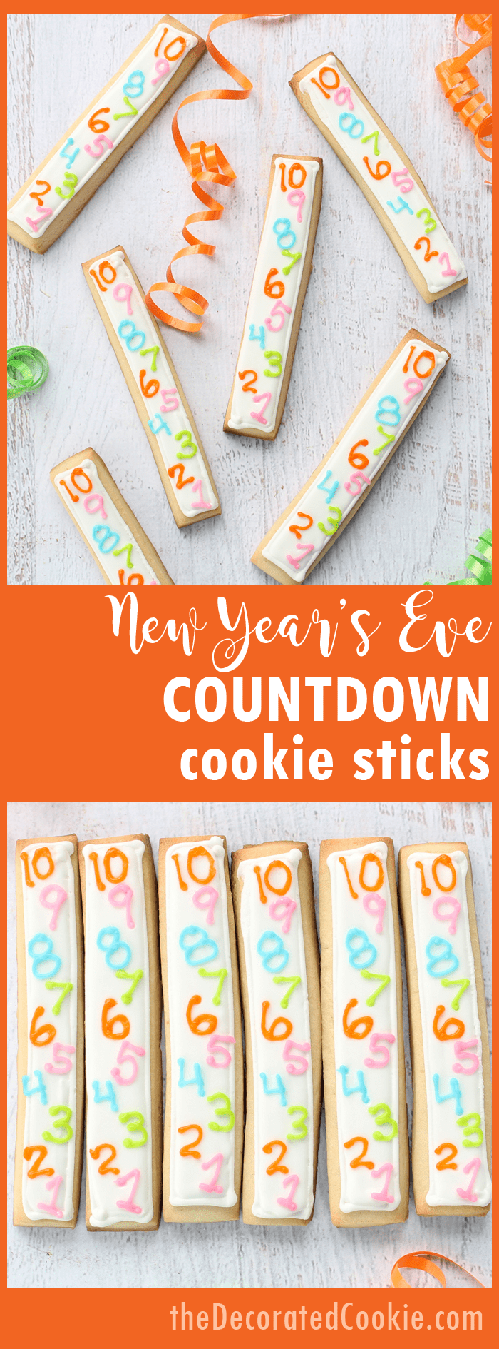 New Year's Eve countdown cookie sticks! Fun food ideas for your New Year's Eve party.