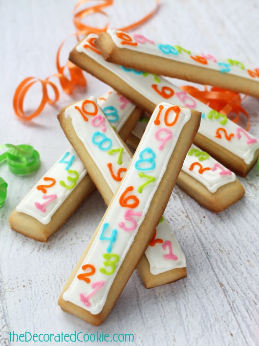 countdown cookie sticks for New Year's Eve