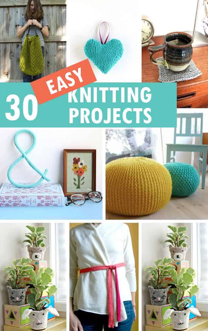 collage of easy knitting projects