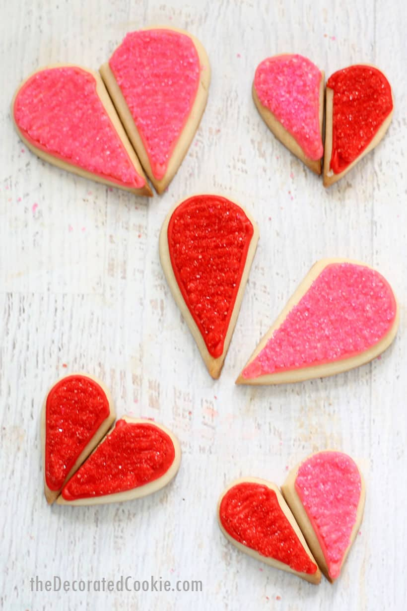 "red and pink ""you complete me"" heart cookies for Valentine's Day"