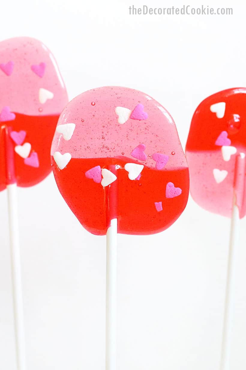 pink and red Jolly Rancher lollipops for Valentine's Day