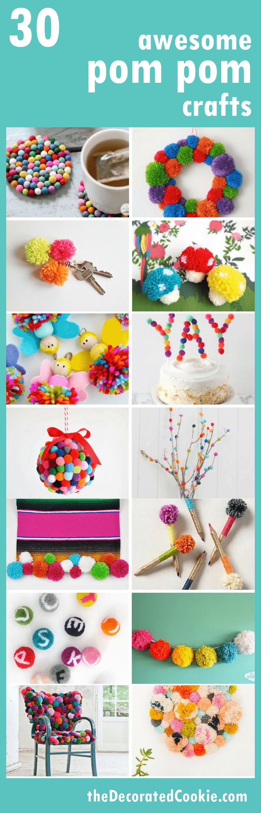 A roundup of pom pom crafts -- home decor, accessories