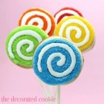 rainbow swirly cookie pops
