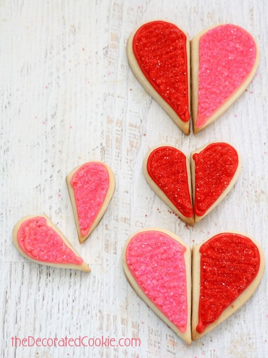 heart half cookies for Valentine's Day