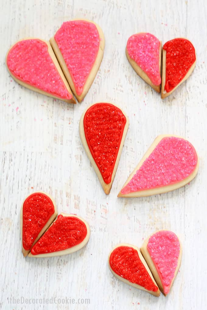 "How to decorate ""you complete me"" heart cookies for Valentine's Day, and easy decorated cookie idea with royal icing and sprinkles."