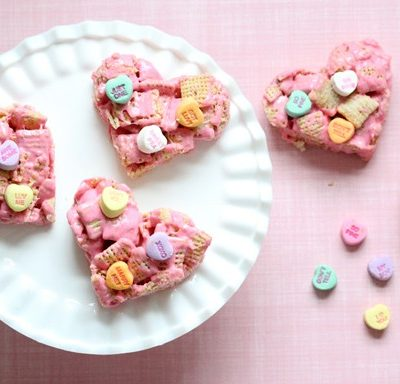 Heart-Shaped Vanilla Chex Treats