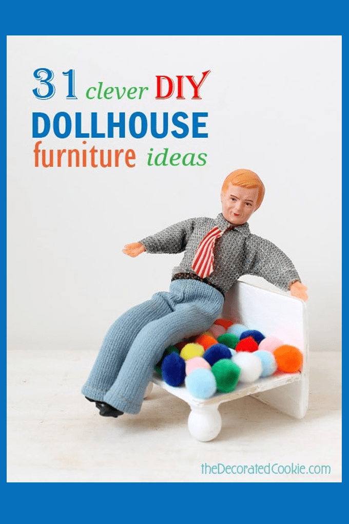 DIY doll house furniture roundup and how to make a pom pom arm chair #DollHouse #DollHouseFurniture