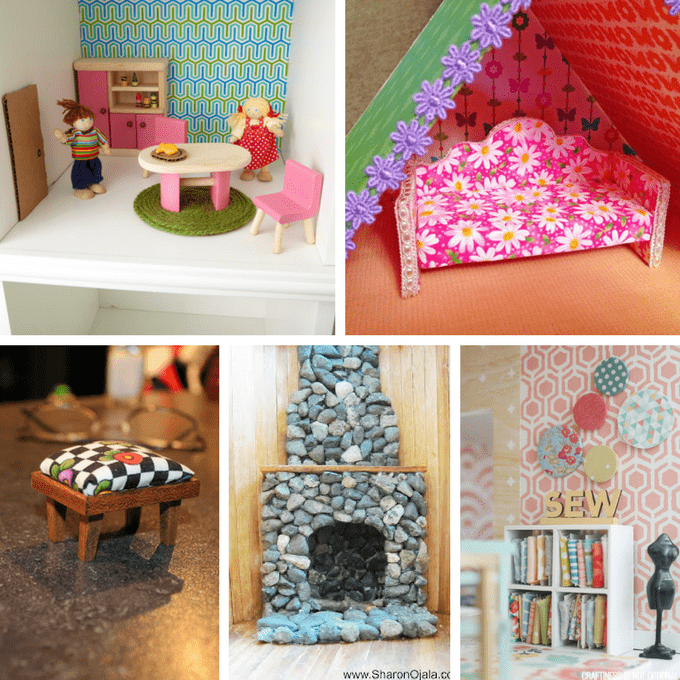 30 DIY dollhouse furniture links PLUS how to make a pom pom armchair