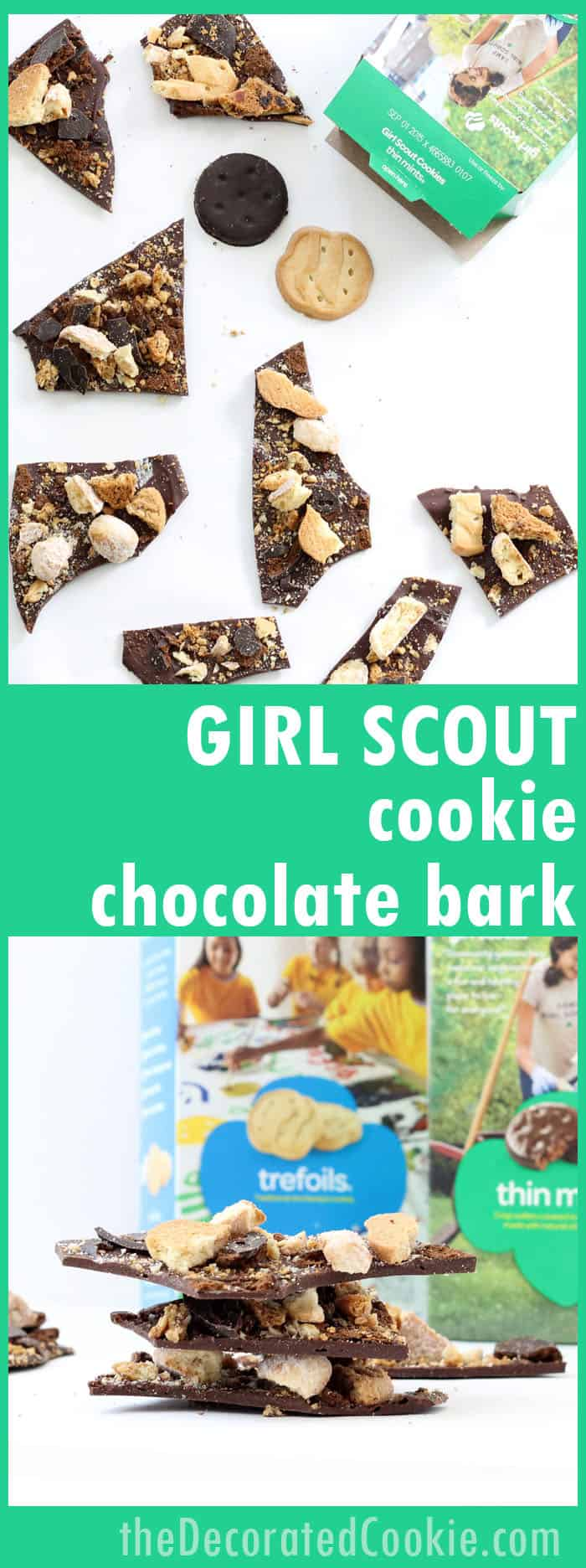 This Girl Scout cookie chocolate bark is a fun and easy way to use all your delicious Girl Scout cookies in one dessert.