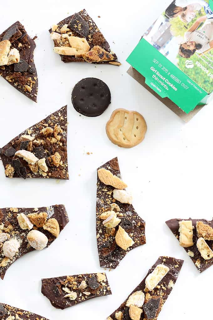 This Girl Scout cookies chocolate bark is a fun and easy way to use all your delicious Girl Scout cookies in one dessert.Great for parties.