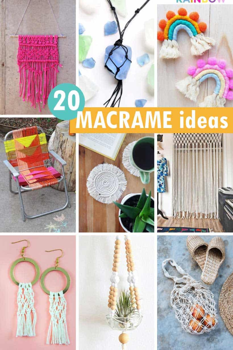 20 macrame projects collage
