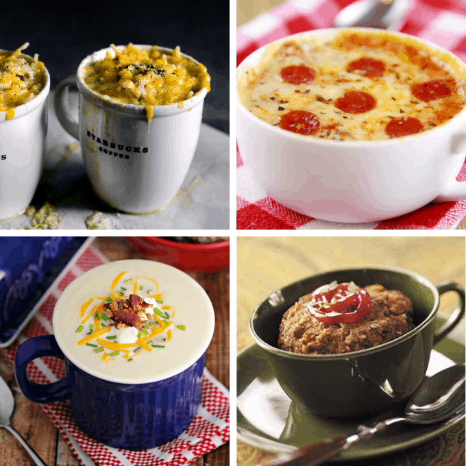 18 EASY MICROWAVE MUG RECIPES -- for breakfast, lunch, dinner, and dessert.