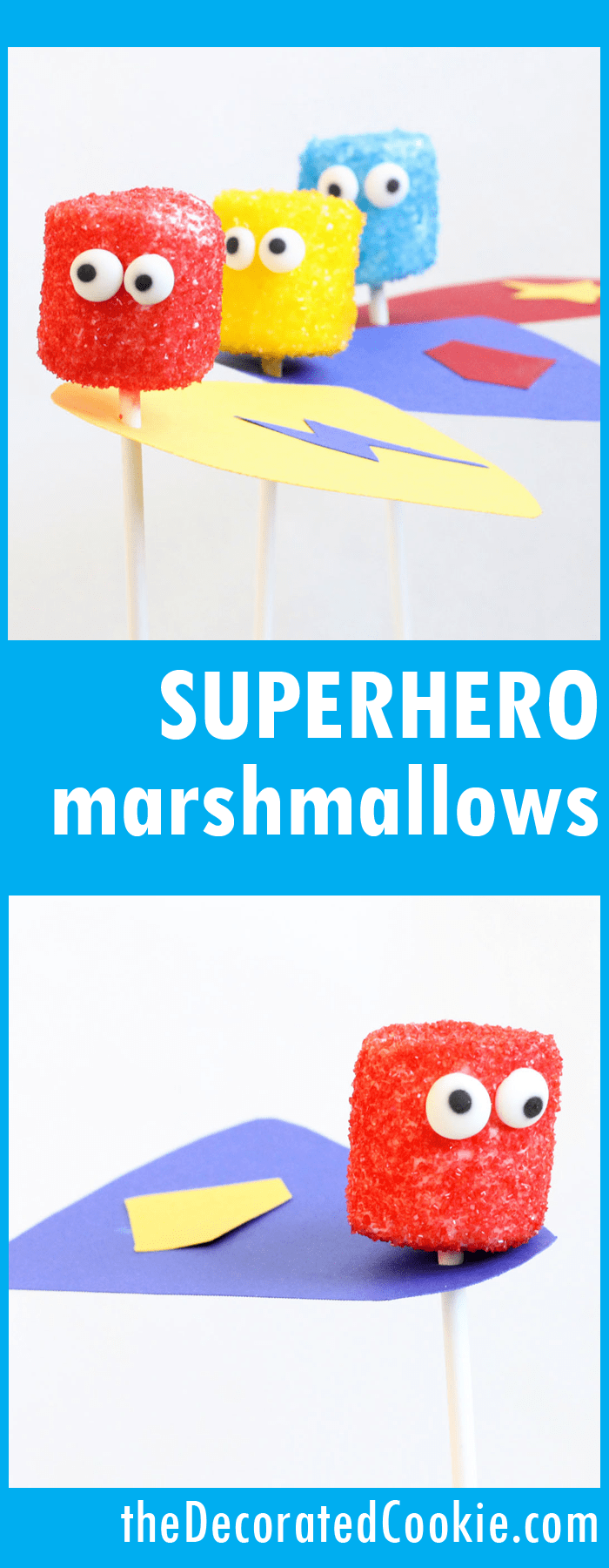 how to make easy superhero marshmallow pops