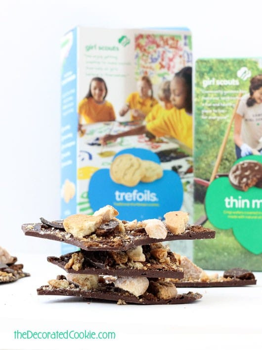 Girl Scout Cookies chocolate bark