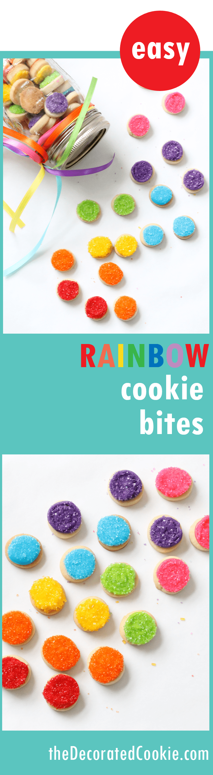 EASY rainbow cookie bites