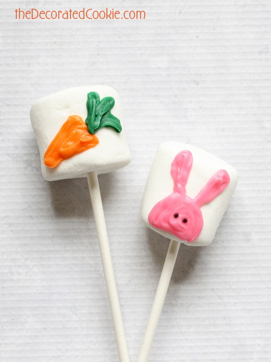 bunny and carrot marshmallow pops for Easter