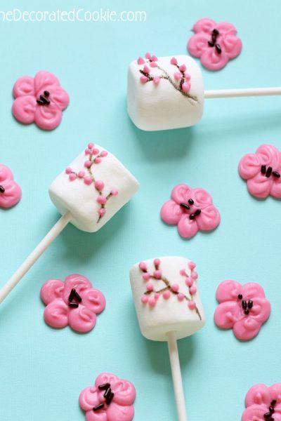 cherry blossom marshmallow pops