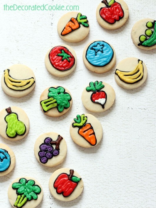 Bite Size Fruit And Vegetable Cookiesthe Decorated Cookie