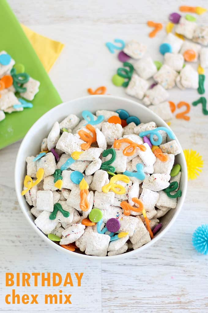 BIRTHDAY CHEX MIX-- Delicious personalized snack idea made with Chex cereal, white chocolate, and colorful candy melts designs.