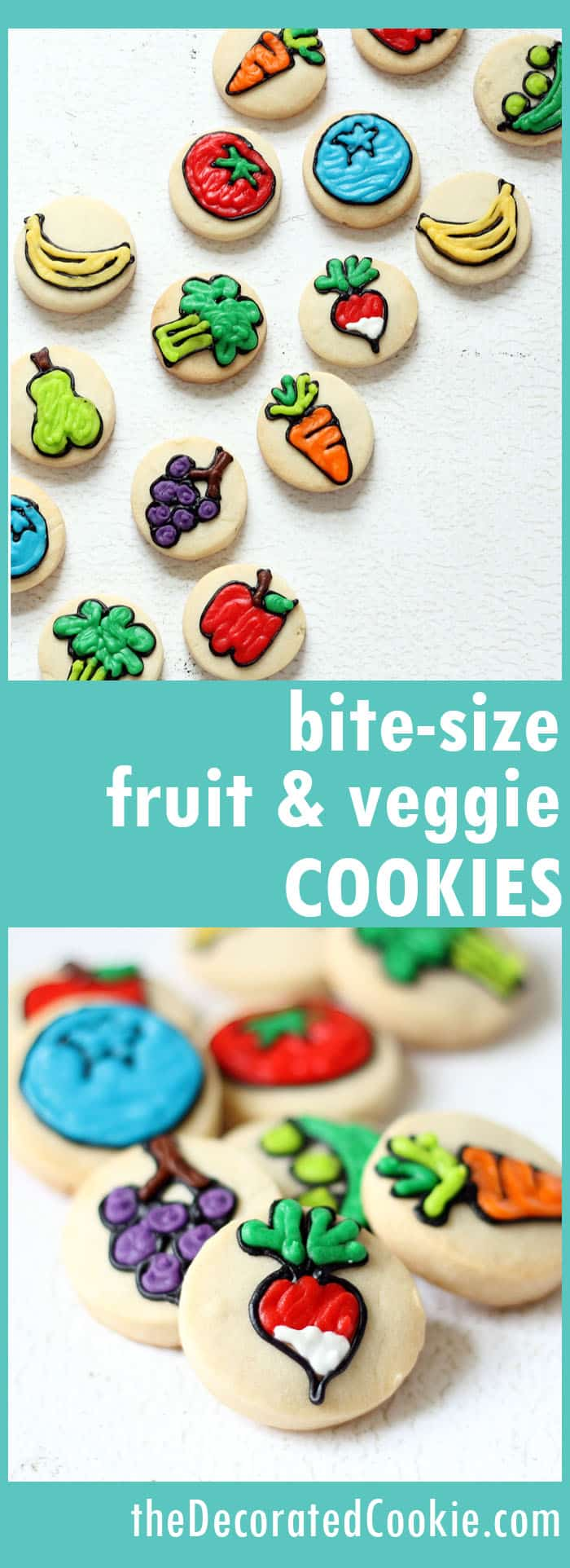 These bite-size fruit and veggie cookies are a cute and fun treat for Spring.