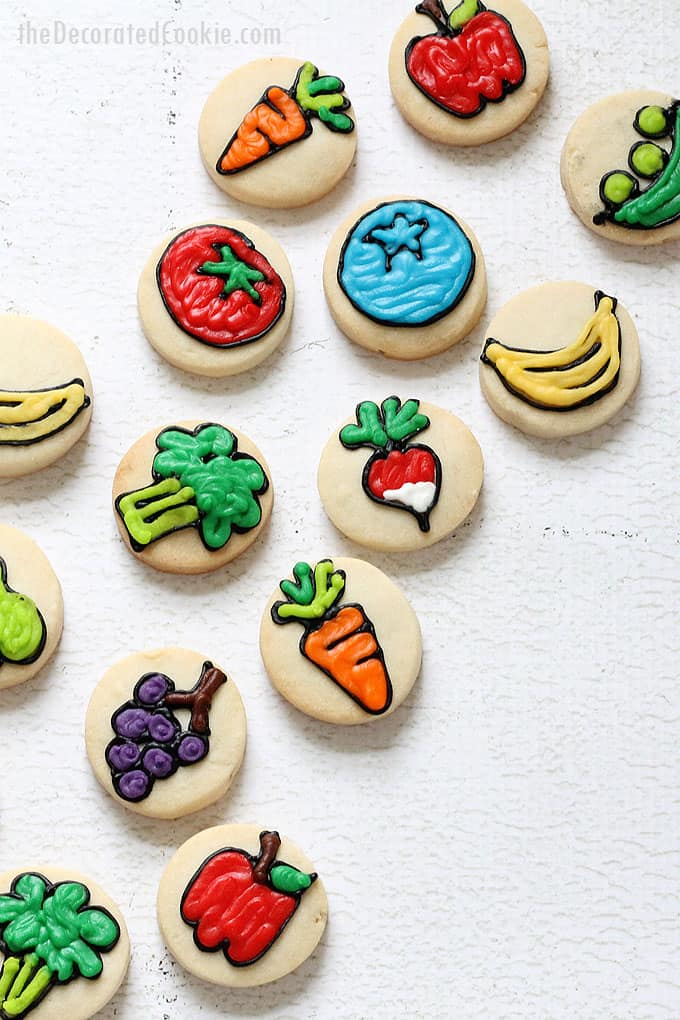 bite-size FRUIT AND VEGGIE COOKIES-- Decorated cookies with fruits and vegetables, a fun food idea for spring or a garden party.