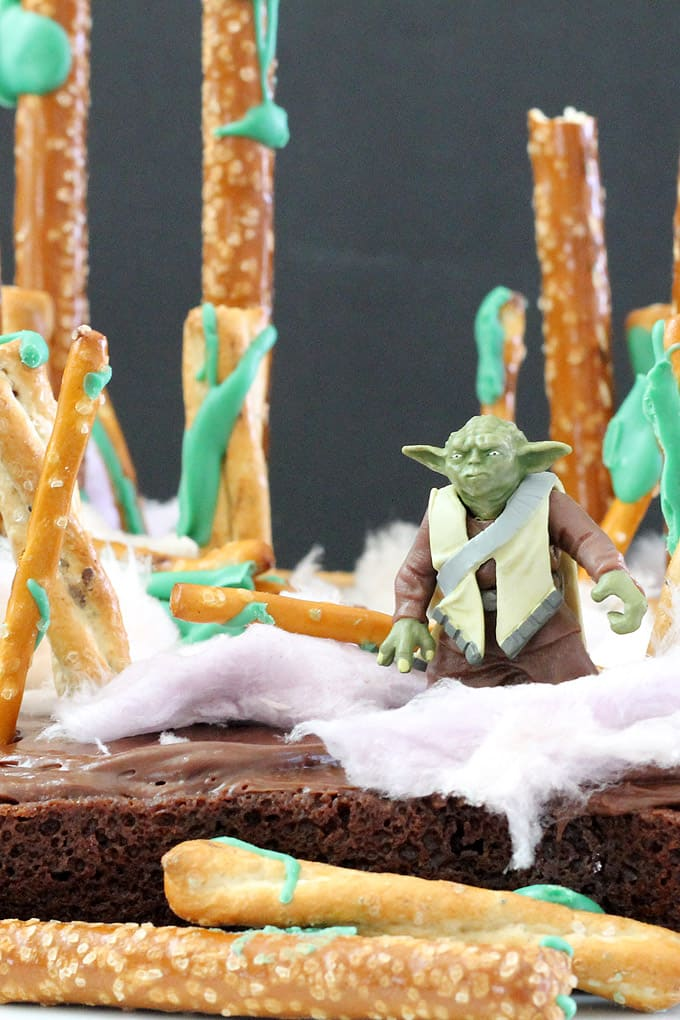 STAR WARS BROWNIES -- Create the Dagobah system with Yoda on brownies, an easy fun food idea to celebrate Star Wars or May the Fourth.