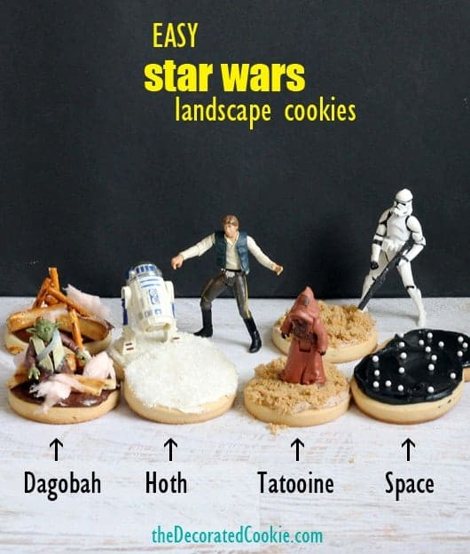 Star Wars cookies as landscapes, by the decorated cookie