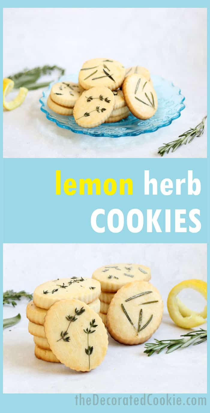 How to make lemon herb shortbread cookies, a delicious spring dessert for Easter, Mother's Day, or a garden party