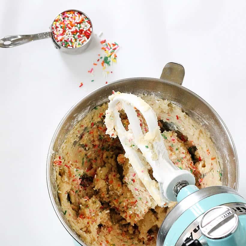 rainbow sprinkle shortbread cookies in mixer