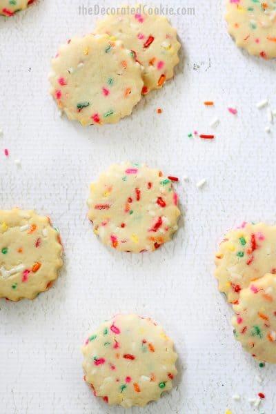 rainbow sprinkle shortbread cookies