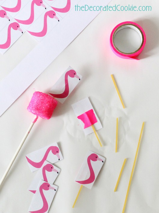 flamingo marshmallow pops with FREE printable