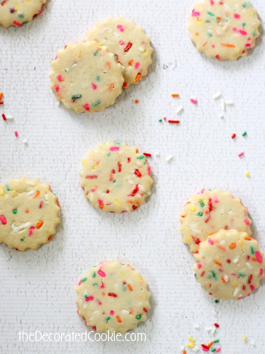 rainbow sprinkle shortbread cookies