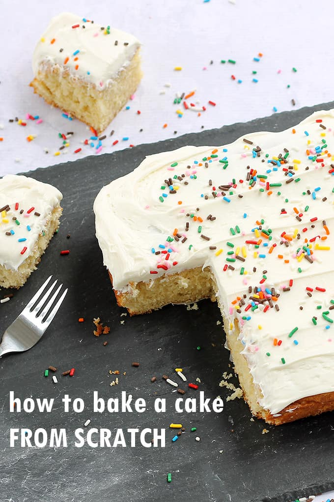 how to bake a cake from scratch -- an essential life skill with tips on ingredients, pans, baking, and what to do with altitude