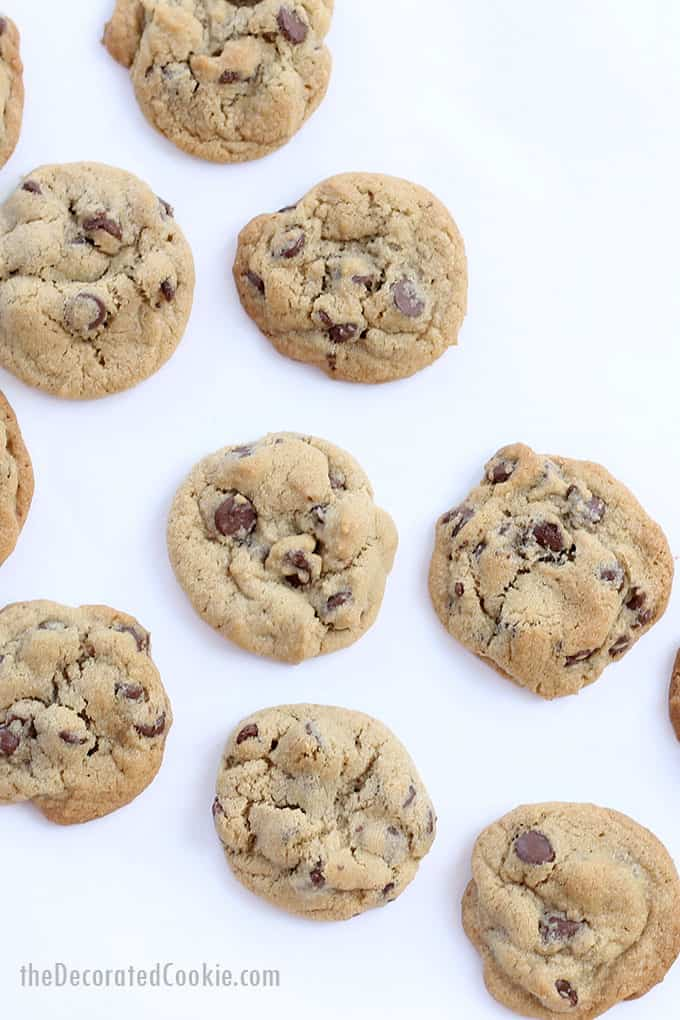 tip to make the BEST CHOCOLATE CHIP COOKIES -- it's all in the butter and shortening for the perfect consistency chocolate chip cookie.