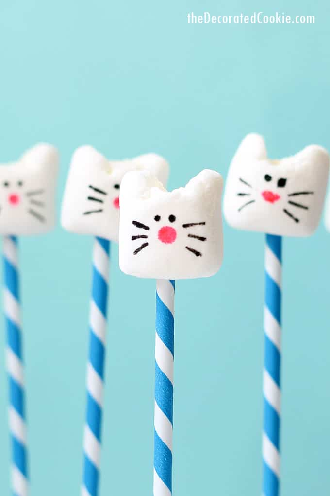 CAT MARSHMALLOWS --How to make a simple and easy animal food craft for kids with marshmallows, food coloring pens, and scissors.