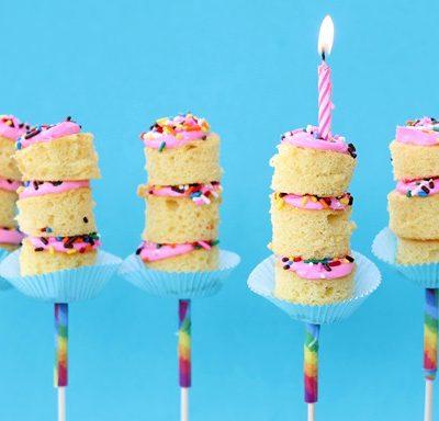 birthday cake on a stick, kabobs