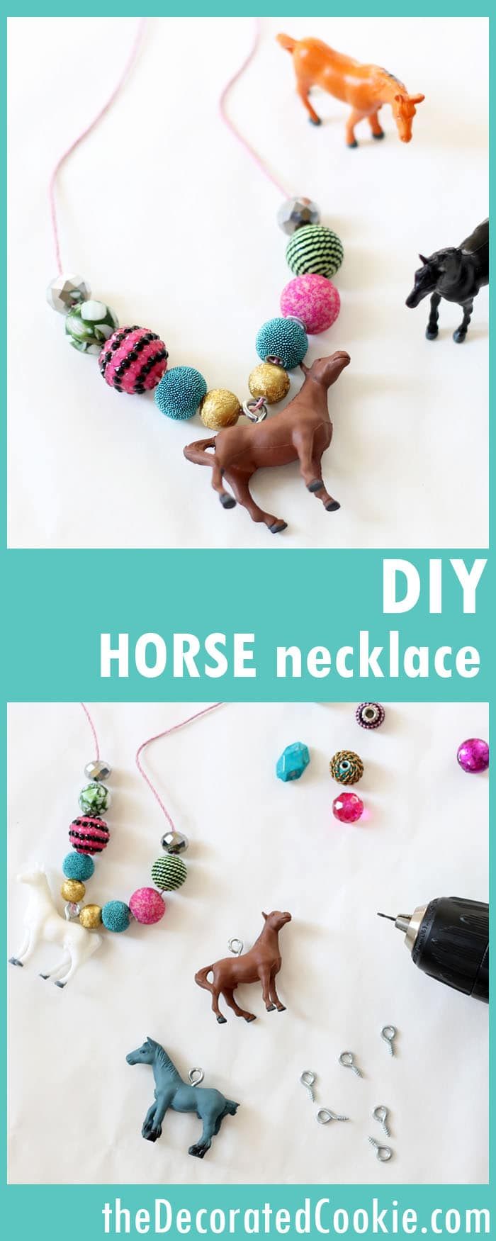 DIY horse necklace craft for birthday parties