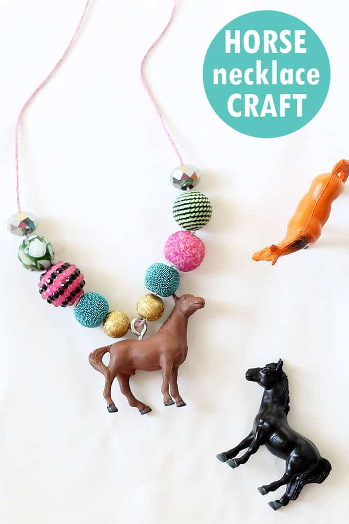 Need an activity for a horse-themed party? Try these DIY horse necklace craft for girls with supplies found at the craft store.