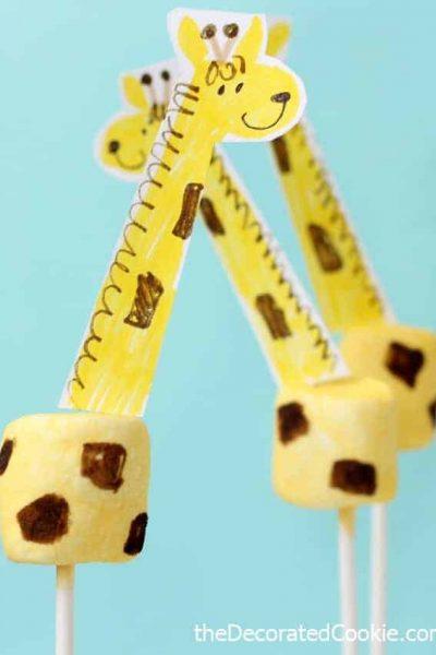 giraffe marshmallows with free printable