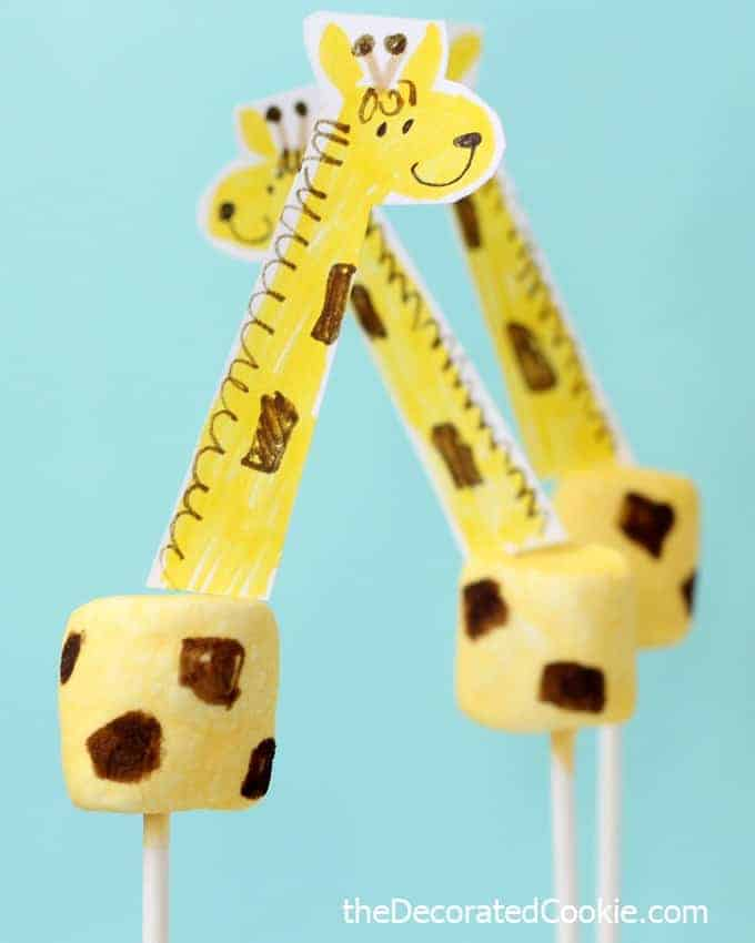 giraffe marshmallows with free printable