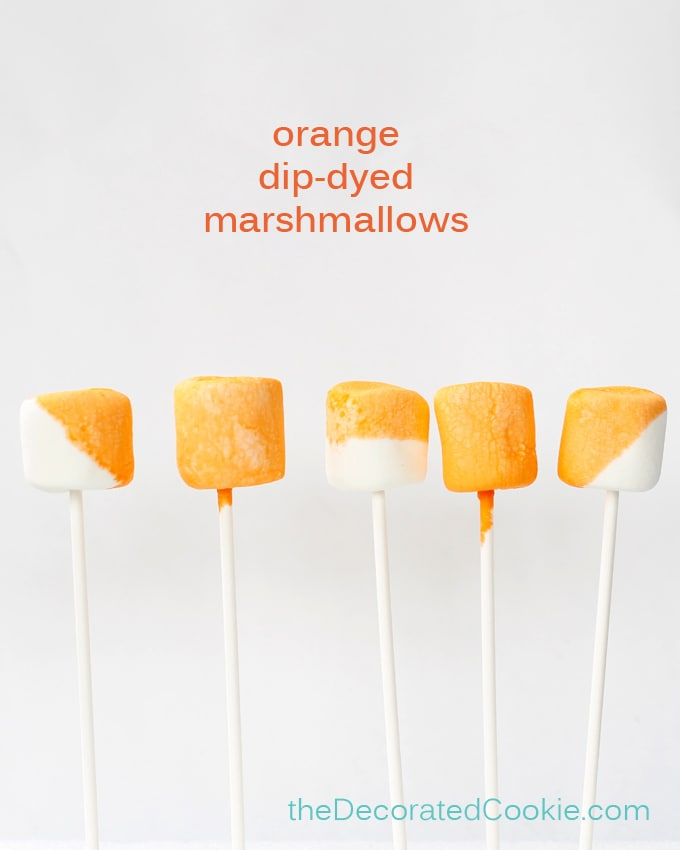 orange dip-dyed marshmallows