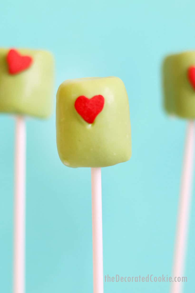 Grinch marshmallow pops for Christmas