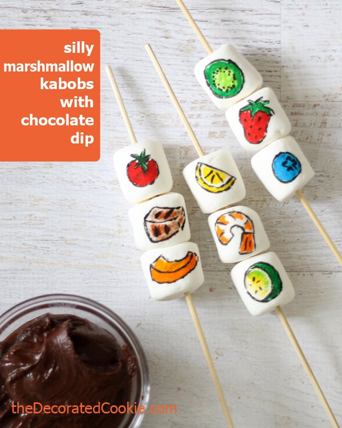 marshmallow kabobs with chocolate dip